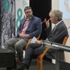 Dunedin-based writer and academic Liam McIlvanney (left) is interviewed by Steve Braunias at the...