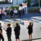 Idea Services staff picket outside the Dunedin office last month. Photo: Peter McIntosh