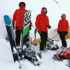 It was all smiles as determined members of LandSAR Wanaka's alpine cliff rescue team (from left)...