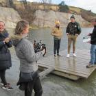 Dunedin director Anya Tate-Manning (left) gets ready to shoot a segment of her short film at the...