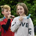 As part of World Asthma Day, Taieri Beach School pupils (from left) Indica Hawkins (9), Delrio...