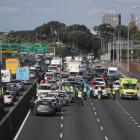 The crash in the city-bound lanes of Auckland's Southern Motorway. Photo: Herald
