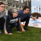 At the 350 Otepoti Dunedin Fossil Free Banks Challenge on Saturday are (from left) Olivia Heer,...