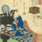 Beauty seated by a dressing table applying make-up 1843, by Kuniyoshi.