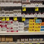 Cigarettes are displayed on store shelves in Beverly Hills. Photo: AP