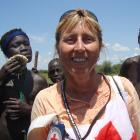 Felicity Gapes, pictured with some of the people she helped in the Jongili area of South Sudan....