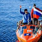 Russian rower Fedor Konyukhov celebrates after reaching the Chilean mainland, after 154 days at...