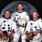 The Apollo 11 lunar landing mission crew. Left to right, are Neil A. Armstrong, commander;...