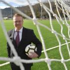 Former Football South chairman Matthew Holdridge at the new artificial turf at Logan Park...