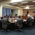 Invercargill city councillors discuss the annual plan. PHOTO: LAURA SMITH