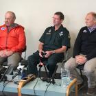 """Winchman Lester Stevens (from left), paramedic John Lambeth and pilot Andrew """"Heff"""" Hefford spoke..."""