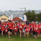Children lead the way in the Jennian Homes Mother's Day Fun Run at Hancock Park in Dunedin...