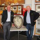 Newly minted Otago Country Rugby life members Rob Roy (left) and Geoff McPhee pose for a...