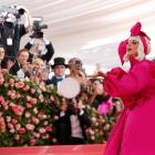 Pop superstar Lady Gaga made a grand entrance at New York's annual Met Gala on Monday, wearing a...