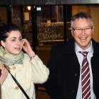 Economic Development Minister David Parker shares a lighter moment with protester Abby Spilg...