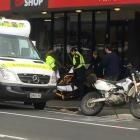 One person is injured after a crash involving a motorcycle in North Dunedin this morning. Photo: Craig Baxter