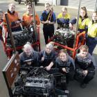 Otago Polytechnic automotive and mechanical engineering students (back row, from left): Arizona...