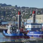 Port Otago's split-hopper barge  TR Healy on the 41-year-old Kitchener St slipway yesterday....