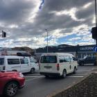 Oamaru motorists navigate a busy intersection with no traffic lights, due to the power outage....