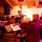 A string quartet of (from left) violinists Benjamin Baker and Justine Cormack, viola player...