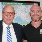 Showing off the new rainbow-friendly business map are Queenstown Lakes  Mayor Jim Boult and Pride...
