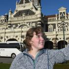 German backpacker Janne Sandmann takes a selfie yesterday afternoon in front of the Dunedin...