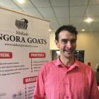 Joseph Burston, of Oxford, promotes the cause of mohair angora goat fleeces at the Royal...