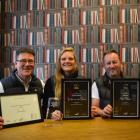 Parading prizes won at the Redshift Design Awards on Saturday (from left) Nettl Dunedin area...