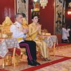 Thailand's King Maha Vajiralongkorn and Queen Suthida attend a religious ceremony for the...