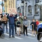 Protesters stopped trucks to make their point about the speed limit in Port Chalmers last week....