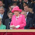 Queen Elizabeth II gives her speech during an event to commemorate the 75th anniversary of D-Day,...