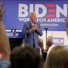 Democratic 2020 U.S. presidential candidate Joe Biden takes questions from the audience in...