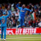 India's Hardik Pandya celebrates taking the wicket of Pakistan's Shoaib Malik. Photo: Reuters