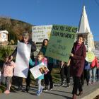 Roxburgh: Teachers and supporters from Millers Flat School and Roxburgh Area School take to the street in Roxburgh. Photo: Simon Henderson