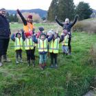 KidzWay Early Learning Centre Tapanui's Ngahere Explorers group, and teachers Denise Sanne (left)...