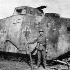A German tank captured by New Zealanders near Bapaume. - Otago Witness, 18.6.1919