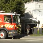 A fire truck outside the Queenstown Lakes District Council building's entrance on Gorge Rd. Photo...