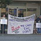 The protest outside Idea Services' Invercargill office. PHOTO: GIORDANO STOLLEY