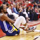 Kevin Durant on the ground after a suspected ruptured Achilles in game five of the NBA Finals in...