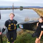 Central Otago kayaking hotshots Nick Collier and Lotte Rayner prepare to hit the water for...