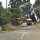 Police at the scene of the crash. PHOTO: HAMISH MACLEAN