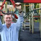 Dunedin City Council project manager David Natta tests out the flying fox at the Ralph Ham...