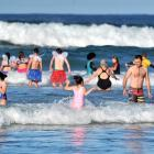 Participants in the 91st Polar Plunge at St Clair beach on Sunday. Photo: Christine O'Connor