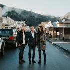Chef Ben Bayly (left), co-owner Sir Michael Hill and architect Anna-Marie Chin outside new...