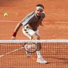 Roger Federer plays a backhand during his win over Stan Wawrinka at the French Open. Photo: Getty...