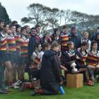 John McGlashan College celebrate their win over King's High School at the weekend. Photos: Peter...