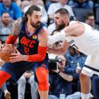 New Zealand centre Steven Adams posts up for the Oklahoma City Thunder against the Memphis...