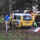 Emergency services at the scene this afternoon. Photo: Guy Williams