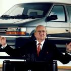 Lee Iacocca speaks at a Chrysler briefing on earnings in February 1991. Photo: Reuters
