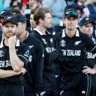 A disappointed Kane Williamson (left) waits with the Black Caps for their medals . Photo: Action...